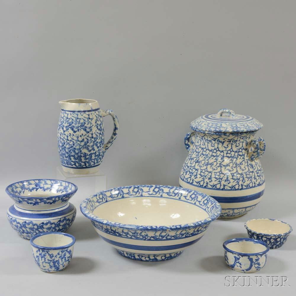 Seven Spongeware Ceramic Items