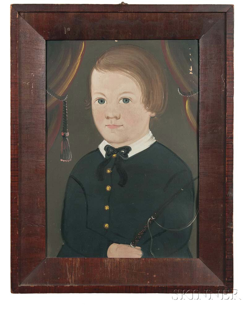 Prior/Hamblen School, Possibly the Work of E.W. Blake, Mid-19th Century      Portrait of a Boy in a Black Coat Holding a Riding Crop