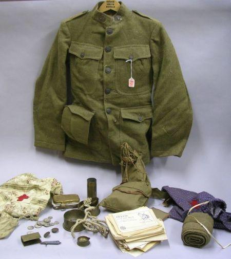 WWI U.S. Regular Army Uniform, Battlefield Souvenirs, and Pamphlets