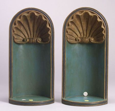 Pair of Italian Carved and Blue Painted Hanging Wall Niches