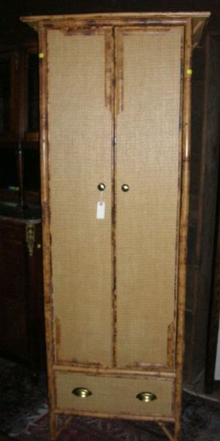 Asian Bamboo and Woven Split Cane Two-Door Cabinet