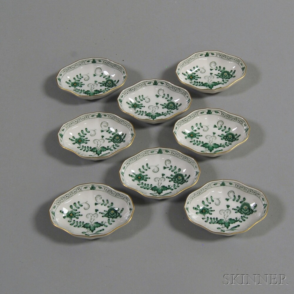 Set of Eight Meissen Green and White Floral-decorated Gilt-rimmed Nut Dishes
