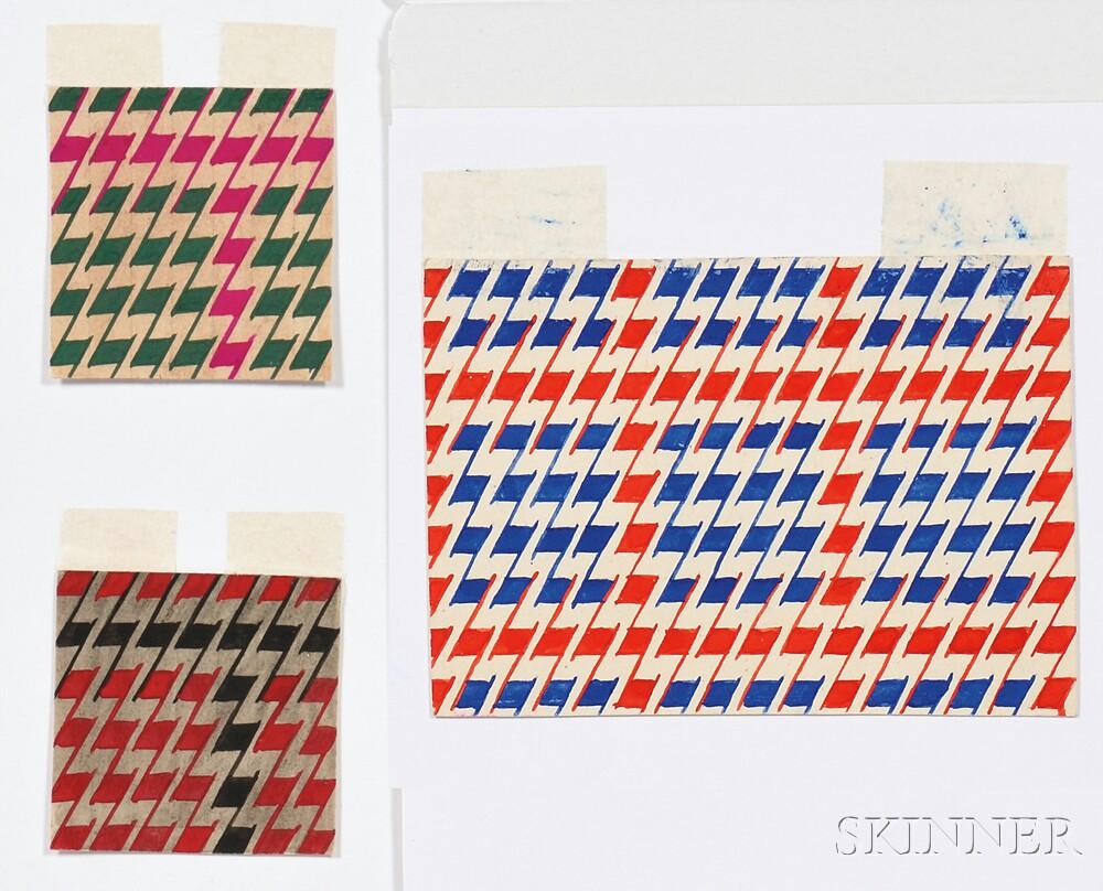 Attributed to Varvara Fedorovna Stepanova (Russian, 1894-1958)    Three Geometric Fabric Designs: Red/Blue, Green/Fuchsia