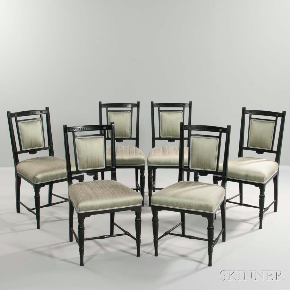 Six Anglo-Japanese Aesthetic Side Chairs