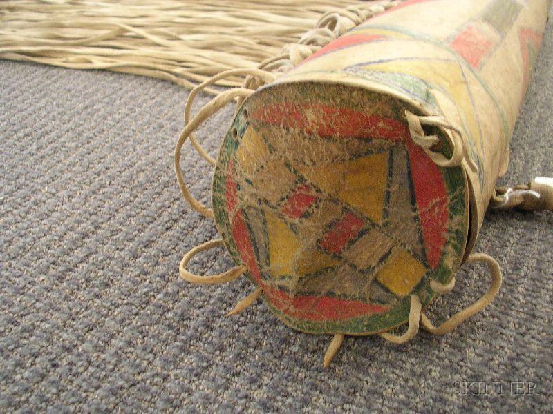 Northern Plains Painted Parfleche Bonnet Case
