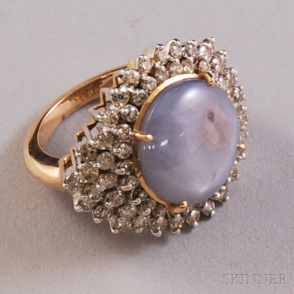 14kt Gold, Star Sapphire, and Diamond Ring