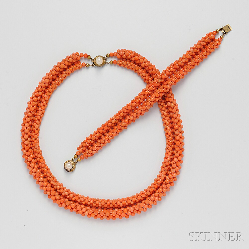 Coral Bead Necklace and Bracelet