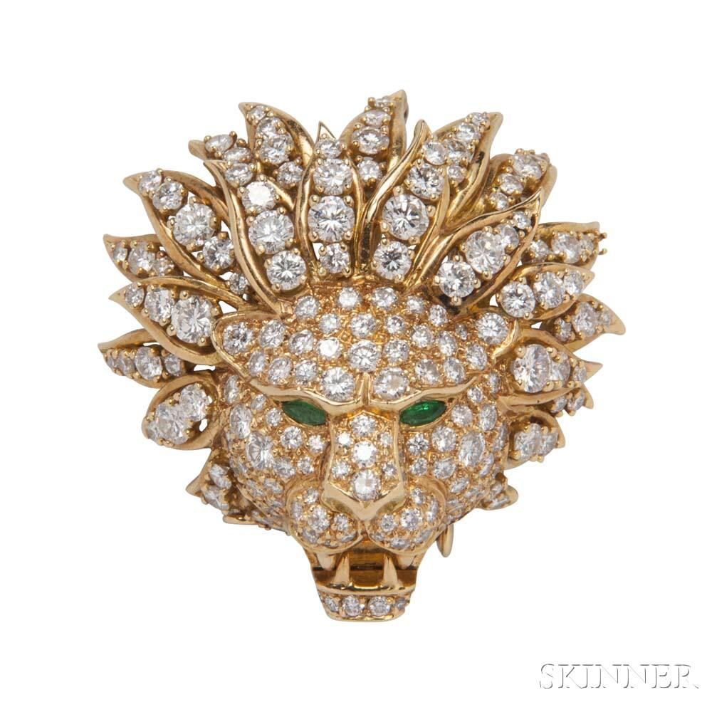 18kt Gold, Diamond, and Emerald Brooch, Van Cleef & Arpels