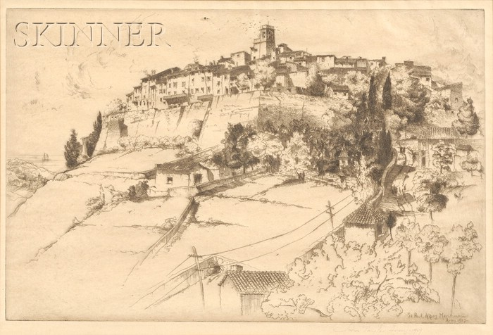 John Taylor Arms (American, 1887-1953)      Saint Paul Alpes Maritimes
