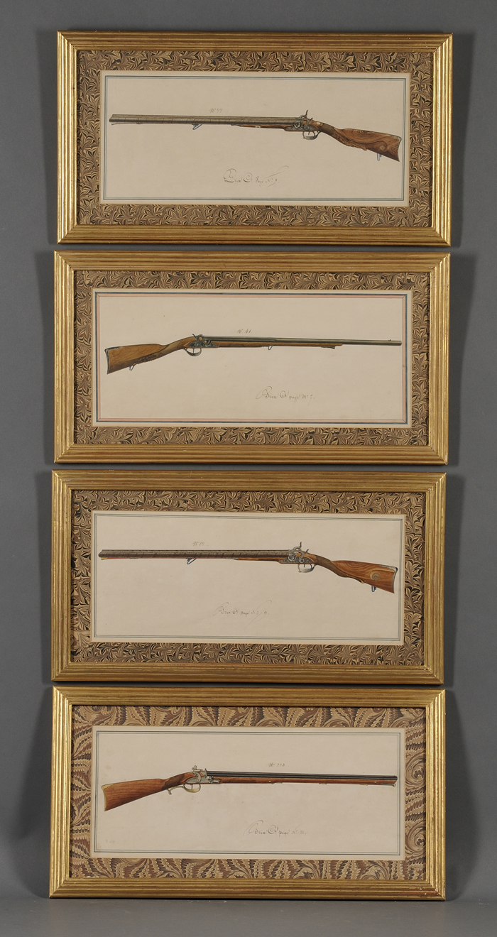 French School, 19th Century      Eight Framed Watercolors Depicting Antique Rifles