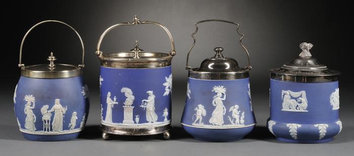 Four Wedgwood Dark Blue Jasper Dip Biscuit Jars