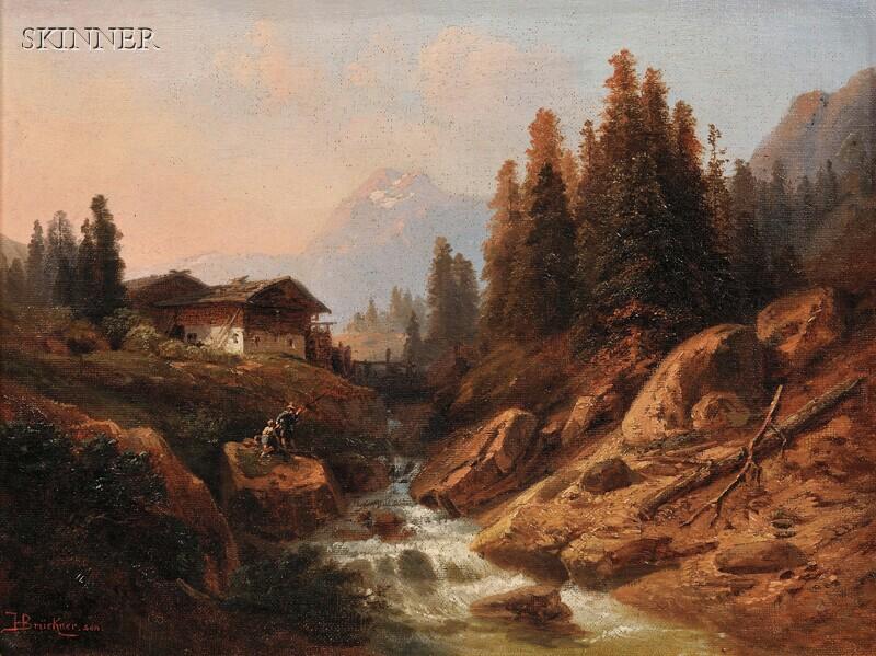 Heinrich Karl Brückner (German, 1805-1892)      Fishing in the Northern Alps