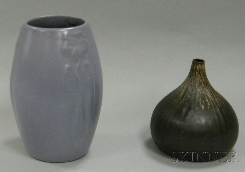 Glazed Molded Art Pottery Vase and Contemporary Studio Pottery Glazed Art Pottery   Vase