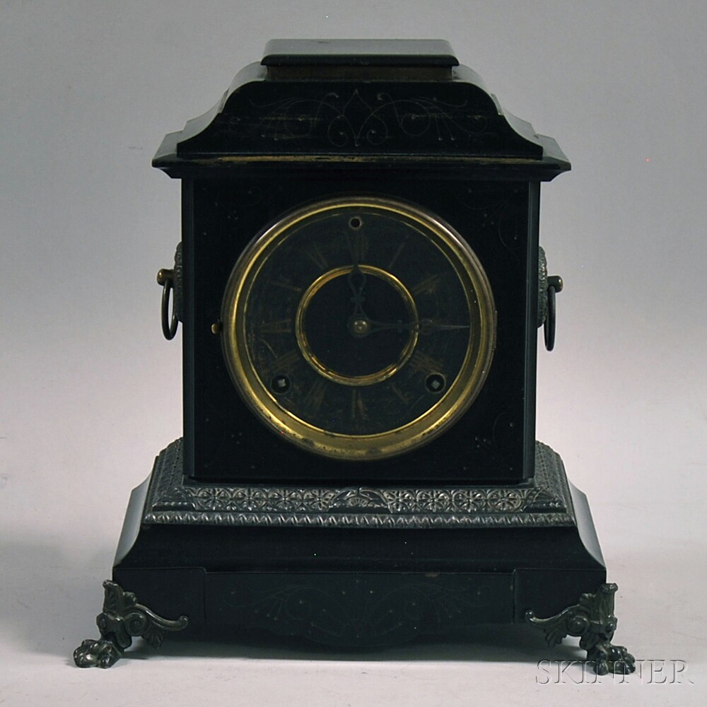 Victorian Black Lacquered, Gilt-incised, and Copper-mounted Mantel Clock