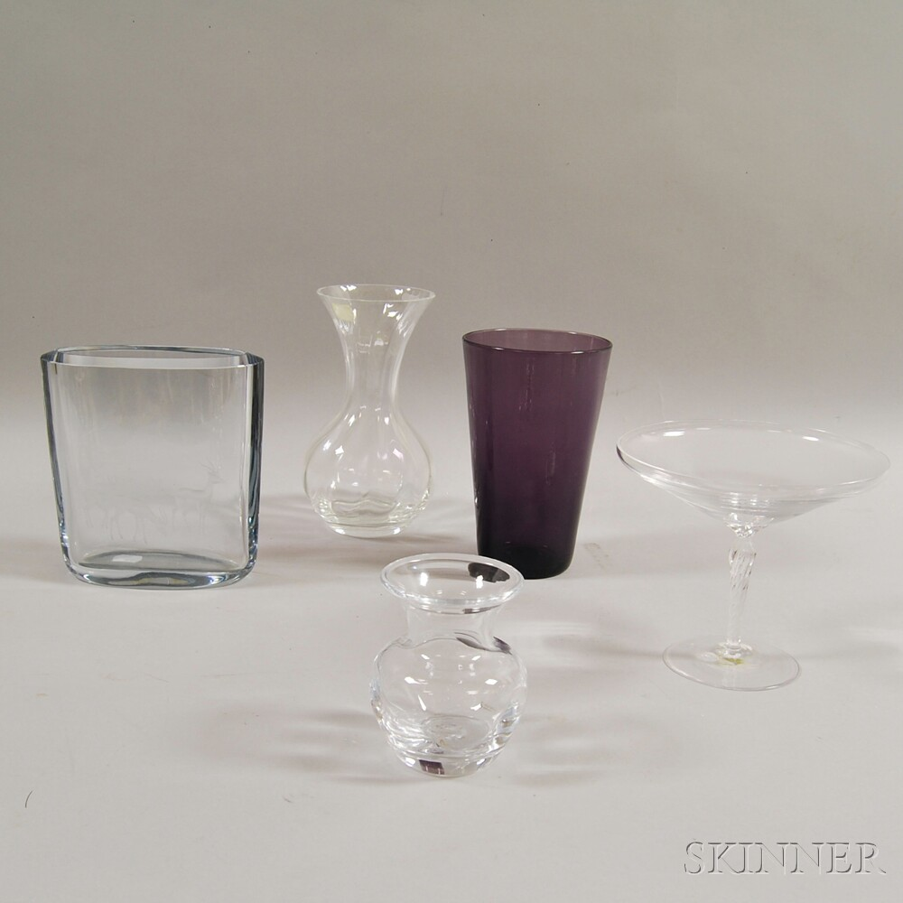 Five Assorted Glass Vases and Compotes