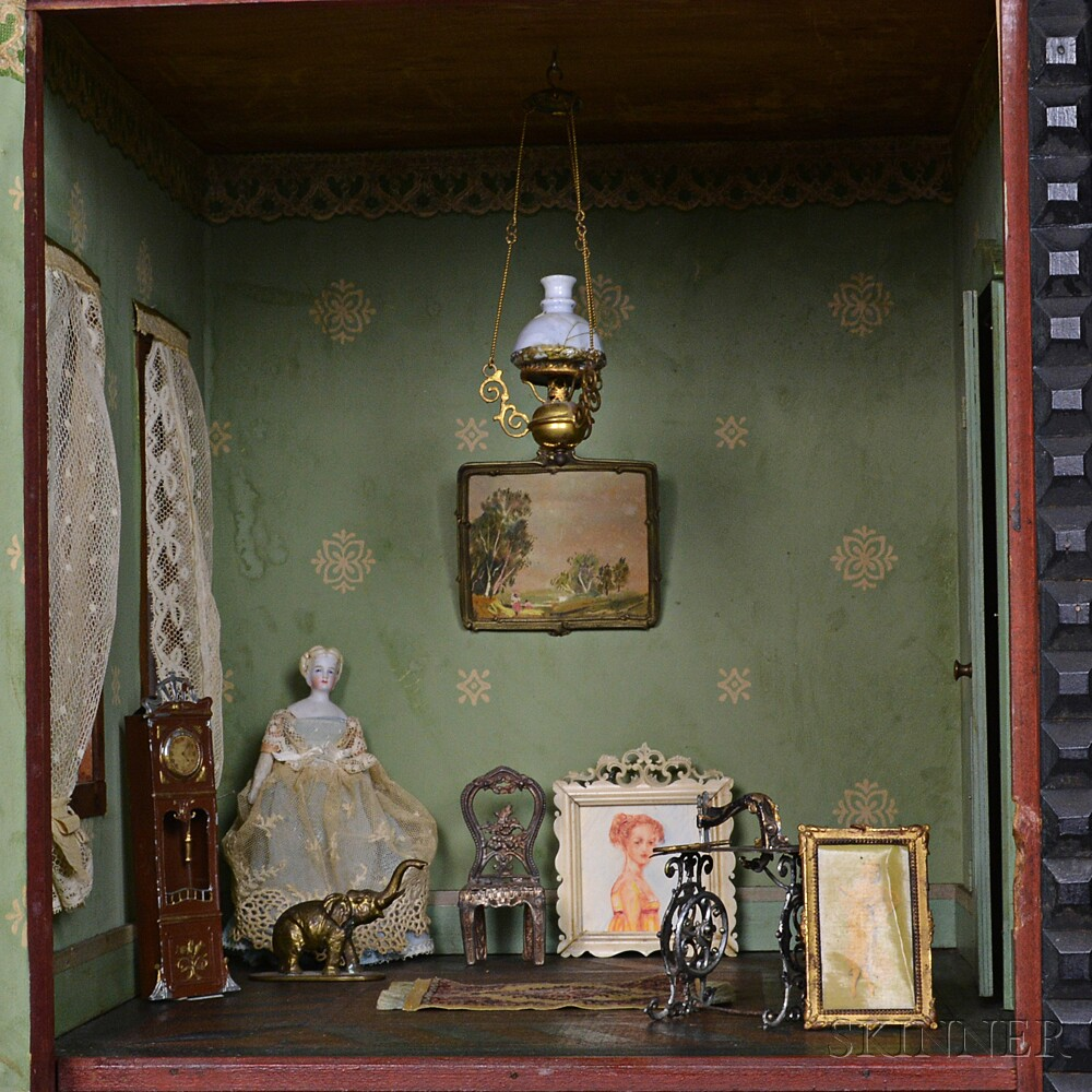 Group of Dollhouse Accessories and a Bisque Doll