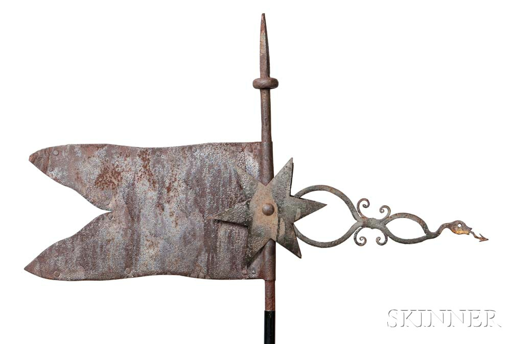 Sheet and Wrought Iron Flag and Snake Weathervane
