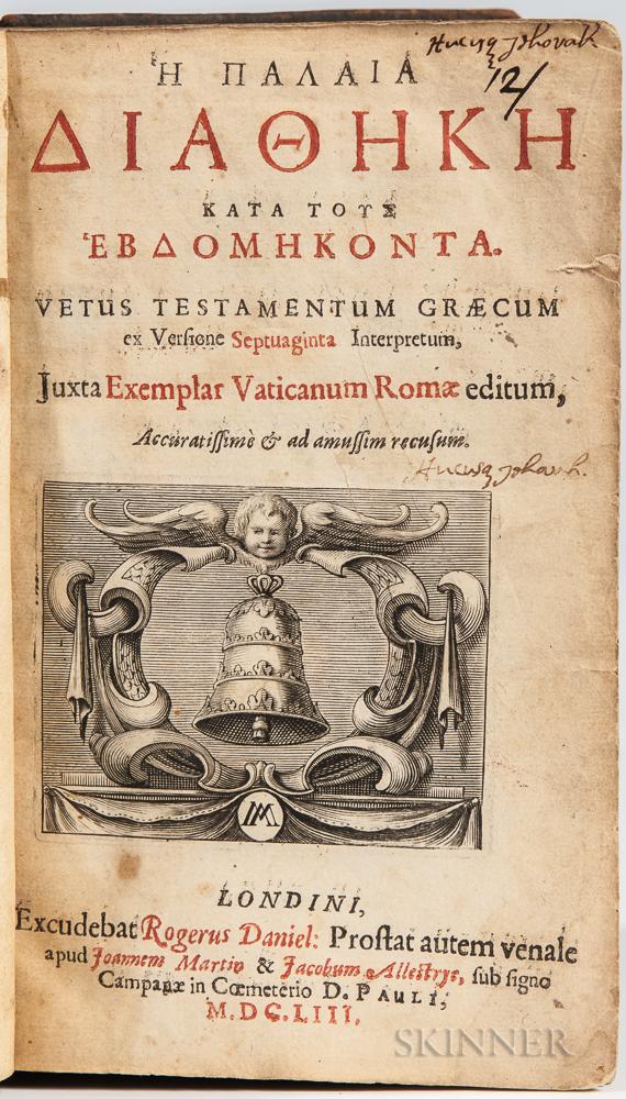 Harvard College, School Textbook, 17th Century: Greek Septuagint with Signatures.
