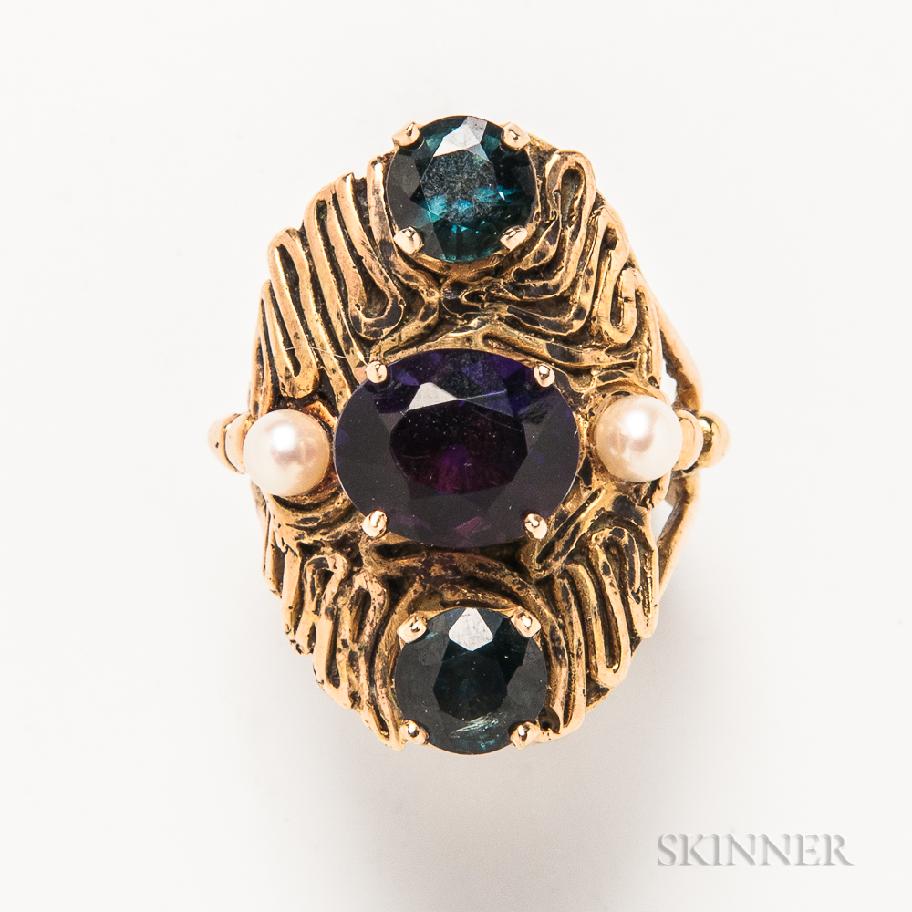 Austin Goodwin 14kt Gold, Gemstone, and Pearl Abstract Ring