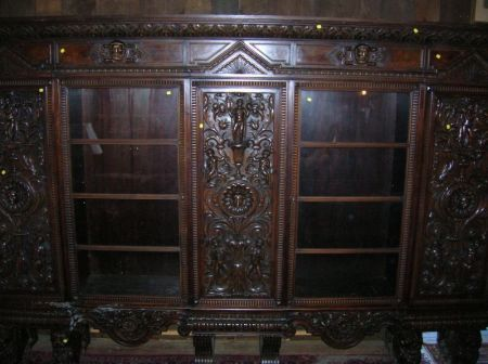 Large Italian Renaissance-style Glazed Carved Walnut and Burl Veneer Five-Door Bookcase