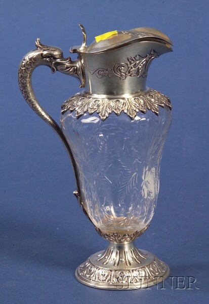 Durgin Sterling Mounted Colorless Glass Syrup Jug