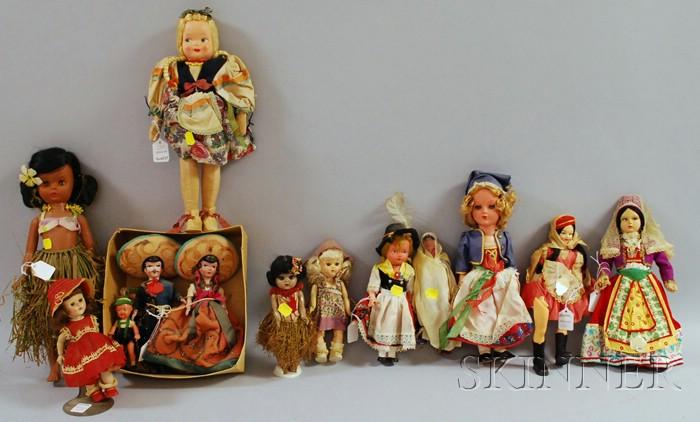 Group of Fourteen Mostly Ethnic Dolls