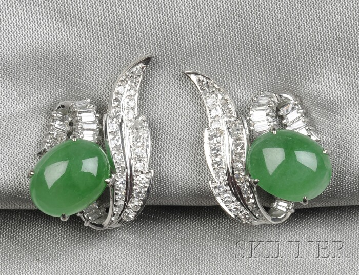 14kt White Gold, Jadeite, and Diamond Earclips