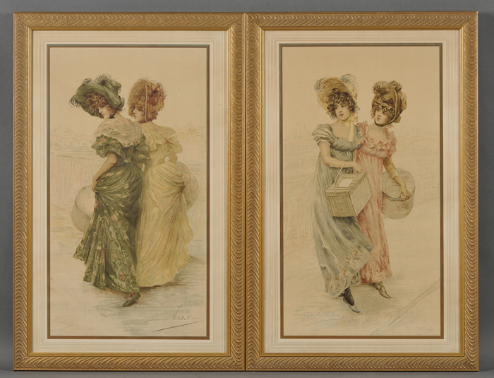 Frédérique Vallet-Bisson (French, b. 1865)      Two Framed Scenes of Fashionable Young Ladies.