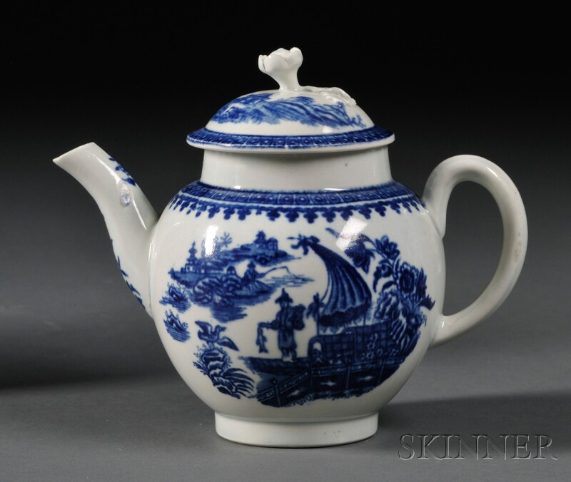 Worcester Porcelain Fisherman   Pattern Teapot and Cover