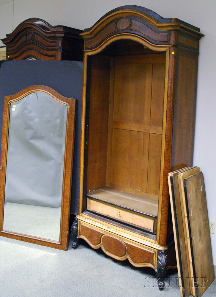 Bird's-eye Maple Veneer Mirrored Armoire