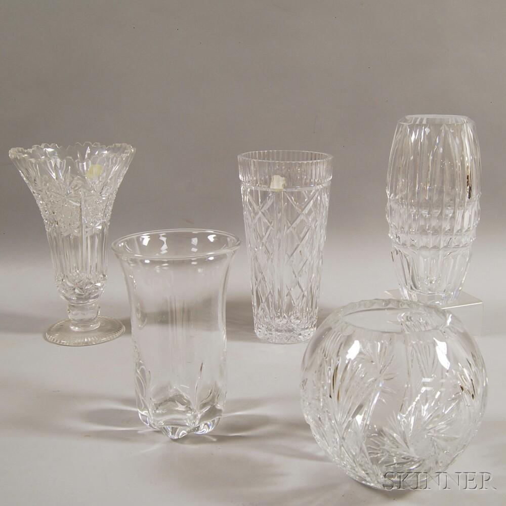Five Crystal Vases