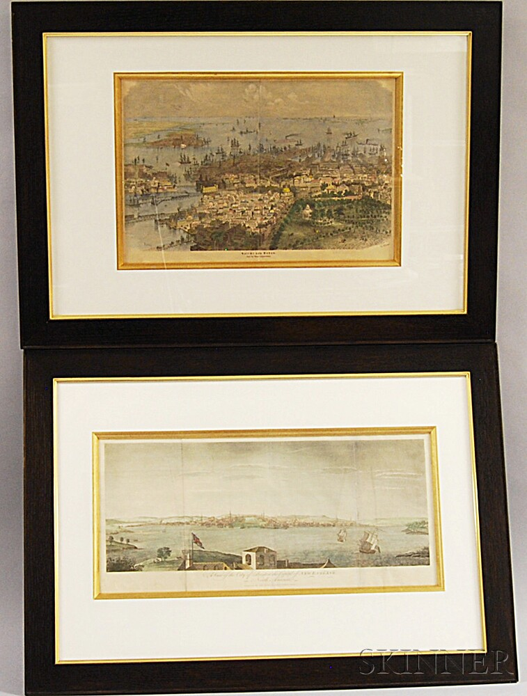 Two Framed Hand-colored Engravings of Boston