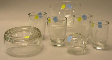 Five Scandinavian Colorless Cut Crystal Vases, an Ashtray, and a Bowl