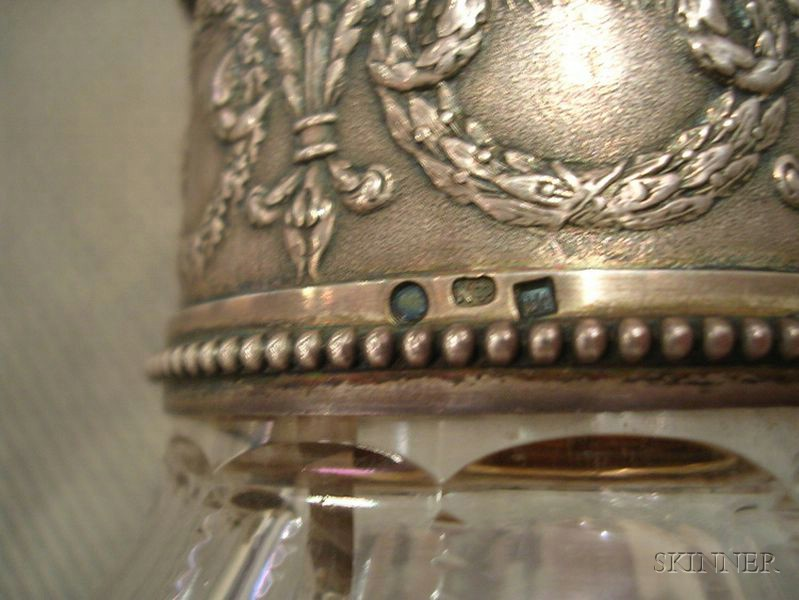 Russian Silver Mounted and Colorless Cut Glass Claret Jug