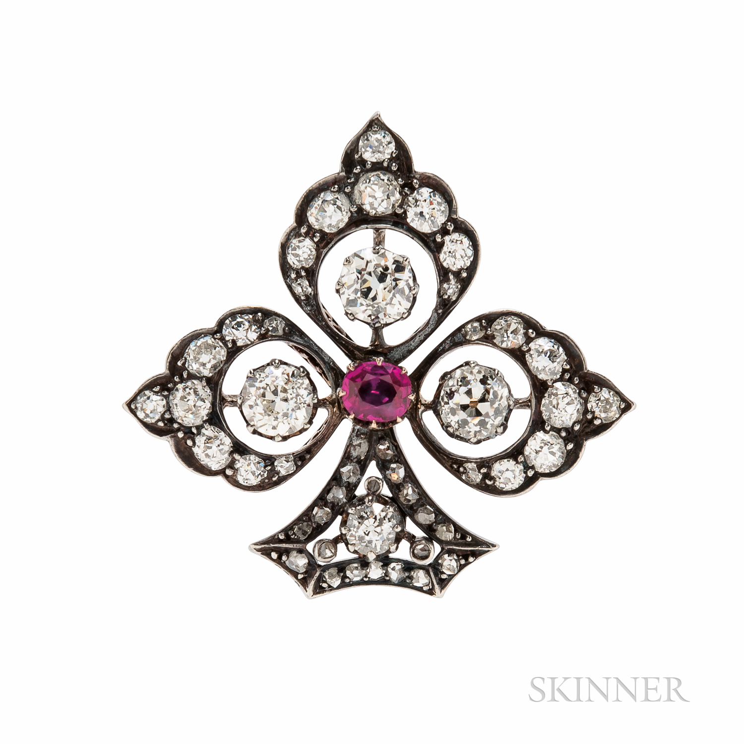 Antique Ruby and Diamond Clover Brooch