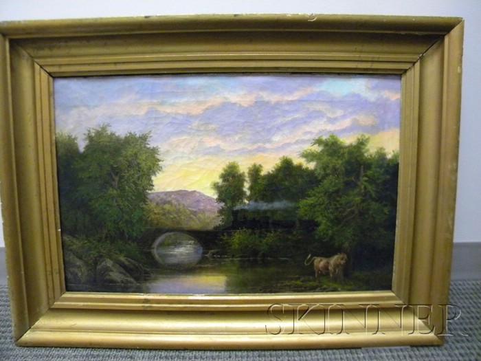 American School, 19th Century      Landscape with Railroad Bridge and Bull.