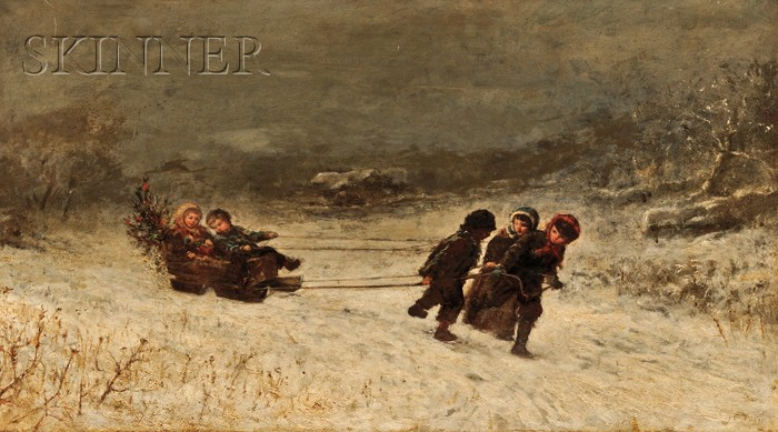 James Crawford Thom  (American, 1835-1898)      Winter Scene with Children Sledding