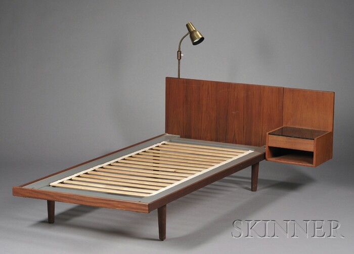Hans Wegner Bed with Attached Side Table and Lamp