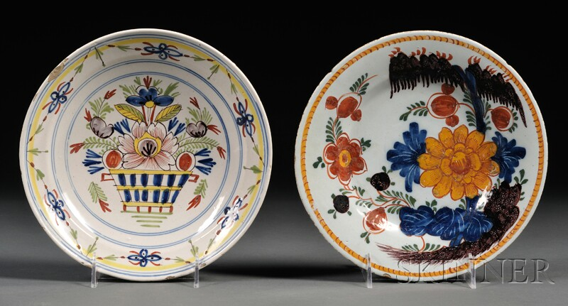 Two Dutch Delft Polychrome Decorated Dishes