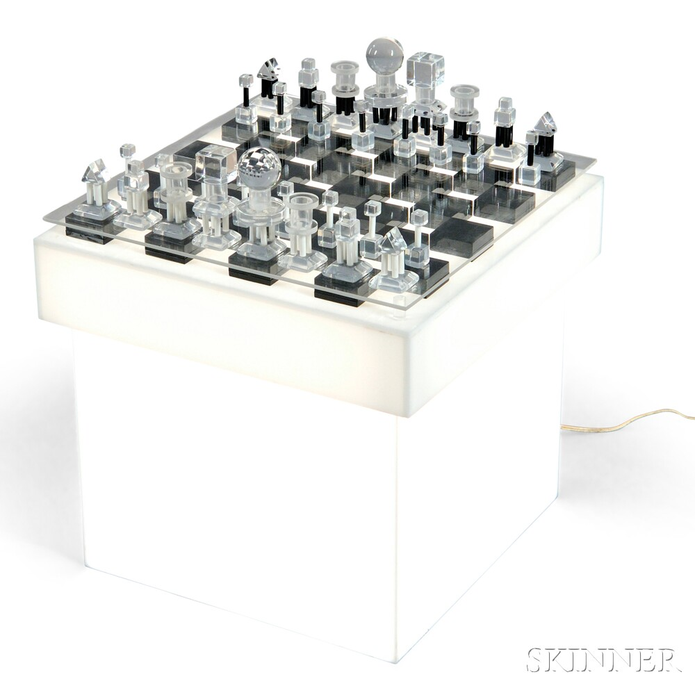 Charles Hollis Jones Chess Set and Stand