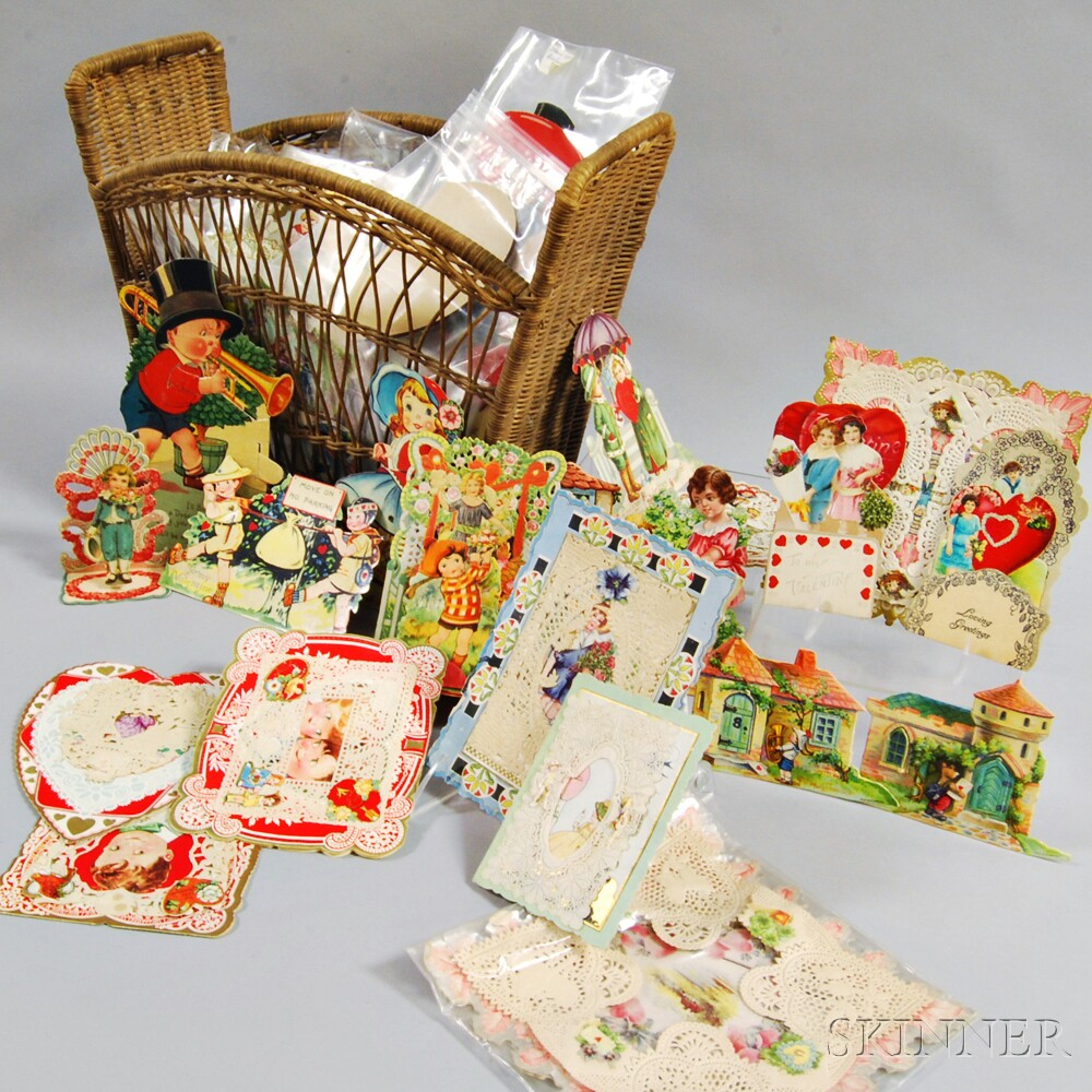 Group of 19th and 20th Century Valentines and a Wicker Basket.     Estimate $300-500