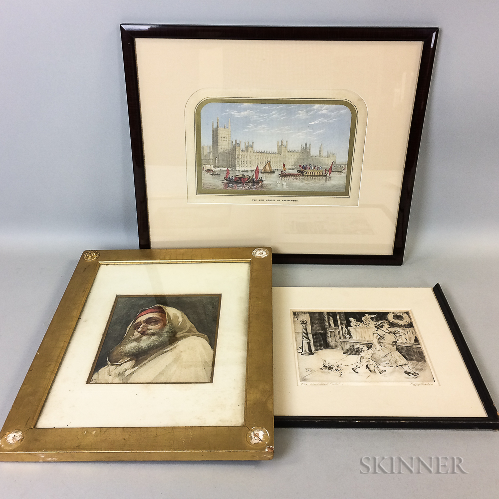 Three Framed Works:      Peggy Bacon (American, 1895-1987), The Untilled Field