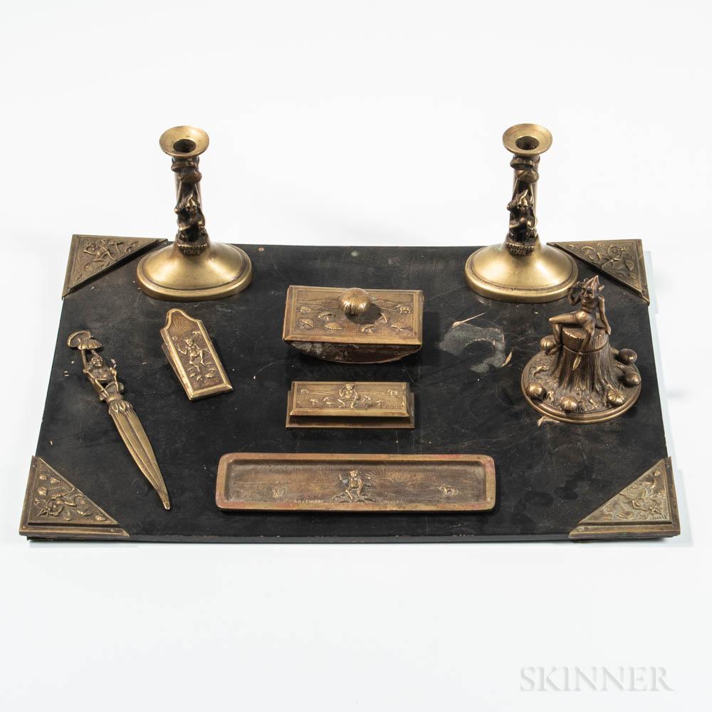 """Extensive """"Dartmoor Pixie"""" Cast Bronze Desk Set"""