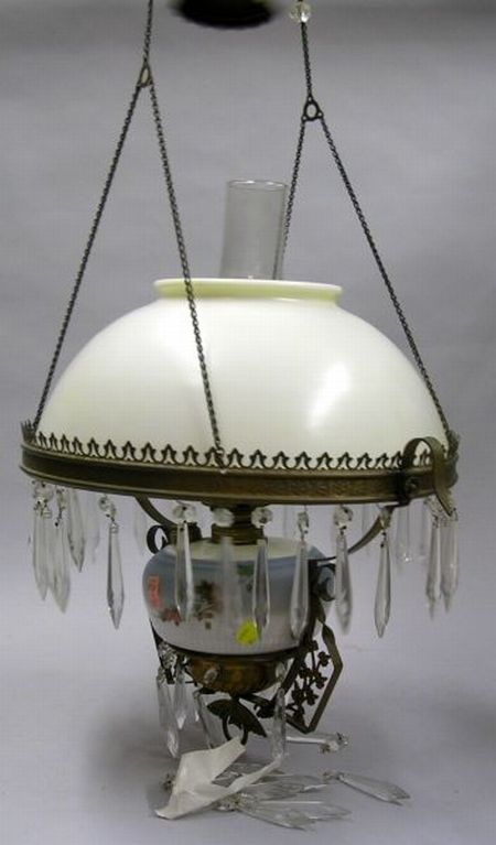 Victorian Decorated Glass and Brass Framed Hanging Kerosene Lamp with Prisms.