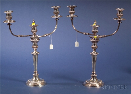 Pair of Sheffield Plate Two Light Convertible Candelabra