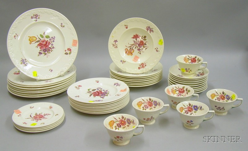 Forty-three Piece Wedgwood Corinthian Cotswold Pattern Partial Dinner Service.
