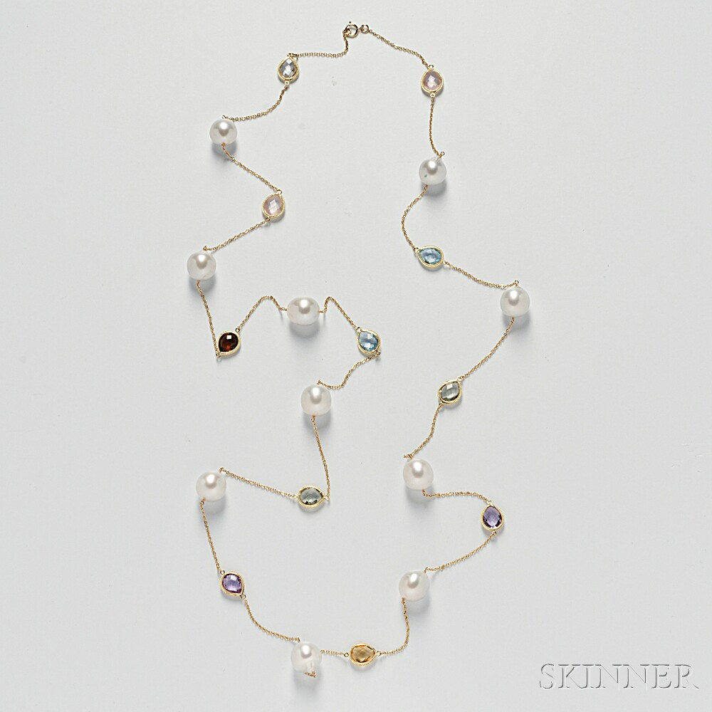 14kt Gold, South Sea Pearl, and Gemstone Longchain