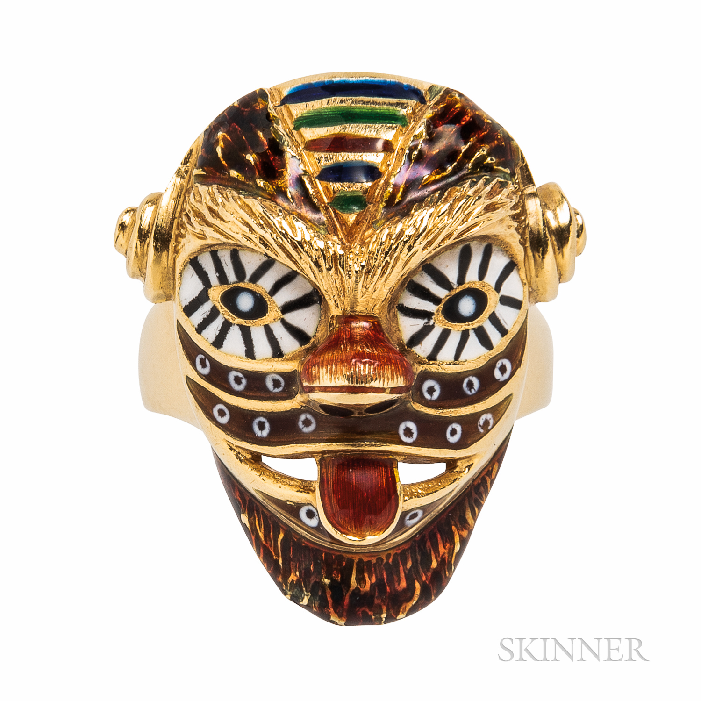 18kt Gold and Enamel Mardi Gras Mask Ring