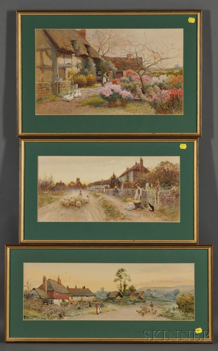 Lot of Three British Watercolor Country Scenes:, Thomas James Lloyd (British, 1849 - 1910) , Country Lane with Flock, Children and a Ca