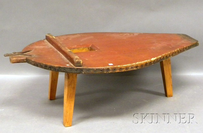Large Red-painted and Iron-mounted Pine Forge Bellows Coffee Table